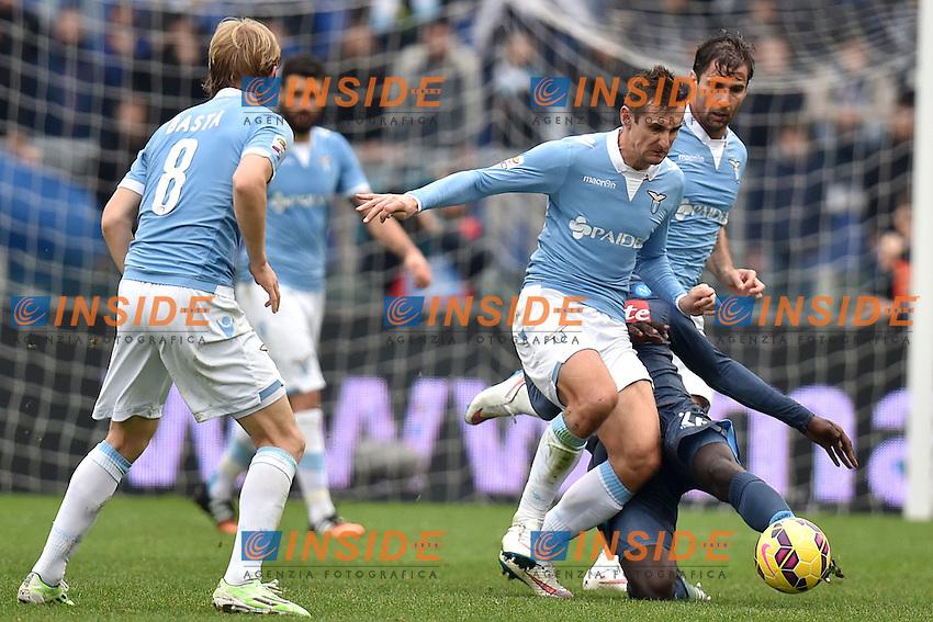 Miroslav Klose Lazio, Kalidou Koulibaly Napoli <br /> Roma 18-01-2015 Stadio Olimpico, Football Calcio Serie A Lazio - Napoli. Foto Andrea Staccioli / Insidefoto