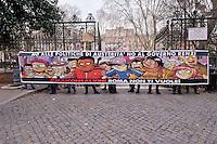 Roma 25 Febbraio 2015<br /> Un centinaio tra i promotori della campagna #MaiConSalvini  hanno tenuto una conferenza stampa a Piazza Vittorio per illustrare il corteo di sabato 28 che attraverser&agrave; le vie del centro di Roma per protestare  contro la manifestazione di Matteo Salvini, della Lega, in piazza del Popolo  in cui parteciperanno esponenti dell'estrema destra europea.<br /> Rome February 25, 2015<br /> A hundred of the campaigners #MaiConSalvini held a press conference in Piazza Vittorio to illustrate the parade on Saturday 28 that cross the streets of central Rome to protest the event of Matteo Salvini, the League, in Piazza del Popolo, where attended by members of the extreme right in Europe.