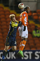 Blackpool's Nathan Delfouneso beats Stevenage's Connor Ogilvie to a header<br /> <br /> Photographer Alex Dodd/CameraSport<br /> <br /> The EFL Sky Bet League Two - Blackpool v Stevenage - Tuesday 14th March 2017 - Bloomfield Road - Blackpool<br /> <br /> World Copyright &copy; 2017 CameraSport. All rights reserved. 43 Linden Ave. Countesthorpe. Leicester. England. LE8 5PG - Tel: +44 (0) 116 277 4147 - admin@camerasport.com - www.camerasport.com