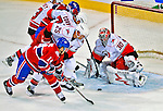 21 December 2008: Carolina Hurricanes' goaltender Cam Ward makes a save on Montreal Canadiens' center Tomas Plekanec from the Czech Republic in the second period at the Bell Centre in Montreal, Quebec, Canada. The Hurricanes defeated the Canadiens 3-2 in overtime. ***** Editorial Sales Only ***** Mandatory Photo Credit: Ed Wolfstein Photo