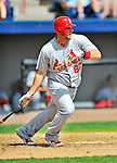 12 March 2012: St. Louis Cardinals infielder Matt Adams gets a single during a Spring Training game against the Washington Nationals at Space Coast Stadium in Viera, Florida. The Nationals defeated the Cardinals 8-4 in Grapefruit League play. Mandatory Credit: Ed Wolfstein Photo