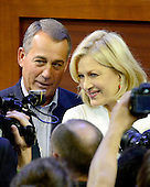 Speaker of the United States House of Representatives John Boehner (Republican of Ohio) poses for a photo with ABC News Anchor Diane Sawyer prior to participating in a sound check from the podium of the 2012 Republican National Convention prior to the start of proceedings in Tampa Bay, Florida on Monday, August 27, 2012..Credit: Ron Sachs / CNP.(RESTRICTION: NO New York or New Jersey Newspapers or newspapers within a 75 mile radius of New York City)