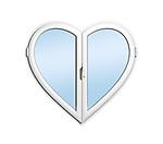 Heart-shaped uPVC window isolated on white background