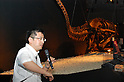 July 1st, 2011, Scholar Makoto Manabe is explaing about why Tyrannosaurus rex cannot run fast.  The Dinosaur Expo 2011 is held at the National Science Museum in Ueno, Japan. The main attractions of the event are showpieces of Tyrannosaurus rex and triceratops fossils, which are facing each other as if they are fighting. The exhibition will be held from July 2 to October 2, 2011.