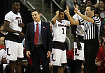 Louisville head coach Rick Pitino shakes his head when a foul is called on the Cardinals near the end of the game during their win against Northern Iowa State in the 2015 NCAA Division I Men's Basketball Championship's March 22, 2015 at the Key Arena in Seattle, Washington.  Louisville beat Northern Iowa State 66-53 to advance to the Sweet 16.