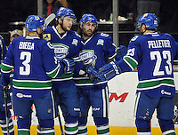Utica Comets players celebrate a goal during the first period of an AHL hockey game against the San Antonio Rampage, Monday, Jan. 13, 2014, in San Antonio (Darren Abate/AHL)