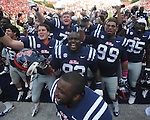 Ole Miss defensive tackle Uriah Grant (93) and the rest of the team celebrate following a win vs. Auburn at Vaught-Hemingway Stadium in Oxford, Miss. on Saturday, October 13, 2012. Mississippi won 41-20. ..