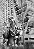 Manhattan, New York City, New York State, USA. June 1970. French-Algerian actress Marlene Jobert gestures at the corner of West 52nd Street and Avenue of the Americas during a shopping trip in Manhattan.