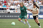 26 July 2009: Amanda Cinalli (15) of Saint Louis Athletica shields the ball from Tina DiMartino (5) of FC Gold Pride.  Saint Louis Athletica tied the visiting FC Gold Pride 1-1 in a regular season Women's Professional Soccer game at Anheuser-Busch Soccer Park, in Fenton, MO.