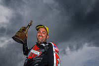 Sept. 1, 2014; Clermont, IN, USA; NHRA pro stock motorcycle rider Eddie Krawiec celebrates after winning the US Nationals at Lucas Oil Raceway. Mandatory Credit: Mark J. Rebilas-USA TODAY Sports