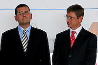 0707239232a Ferenc Gyurcsany and Janos Koka at the celebration of the newly built record breaker Pentele Bridge over river Danube at Dunajuvaros, Hungary. Monday, 23. July 2007. ATTILA VOLGYI