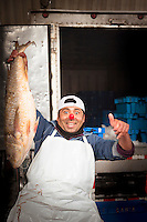 Portrait of Fish monger at the Fish Market in Villa Mar?a del Triunfo district of Lima, Peru, South America
