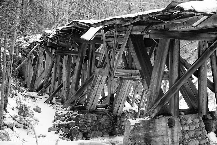 Pemigewasset Wilderness - Timber Trestle 16  (Black Brook Trestle) along the old East Branch & Lincoln Railroad in Lincoln, New Hampshire USA just pass the old Camp 16 location. This was a logging railroad which operated from 1893 - 1948.