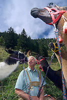 Bad Hofgastein, Salzburgerland, Austria, September 2009. Sepp Duernberger of the Riedlalm in Bad Gastein keeps lama's for hiking with tourists, at his mountain pasture farm house. Photo by Frits Meyst