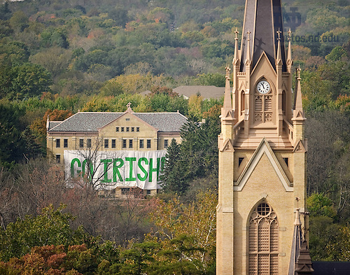 Oct. 22, 2011; &quot;Go Irish&quot; sign on Carroll Hall..Photo by Matt Cashore/University of Notre Dame