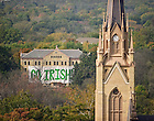 "Oct. 22, 2011; ""Go Irish"" sign on Carroll Hall..Photo by Matt Cashore/University of Notre Dame"