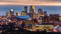 Minneapolis, Minnesota skyline from Prospect Park at dusk.