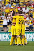 3 JULY 2010:  Gino Padula of the Columbus Crew (4), Eddie Gaven (120 and Adam Moffat (22) celebrate Adam Moffat's goal during MLS soccer game between Chicago Fire vs Columbus Crew at Crew Stadium in Columbus, Ohio on July 3, 2010.