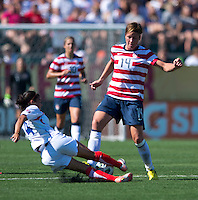 Abby Wambach, Gabriela Guillen.  The USWNT defeated Costa Rica, 8-0, during a friendly match at Sahlen's Stadium in Rochester, NY.