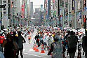 Feb. 28, 2010 - Tokyo, Japan - Thousands of runners fill the street in Ginza area during the Tokyo Marathon 2010 on February 28, 2010. Despite the cold and rain, more than 30,000 athletes participated in the fourth running of the event. (Photo Laurent Benchana/Nippon News)