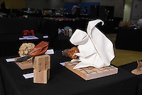 Origami squirrel and bird designed and folded by Beth Johnson, Michigan, USA on display at the OrigamiUSA 2013 Convention in New York