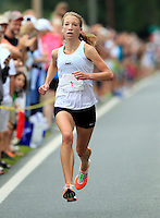 Rachel Ward makes her way to the finish line during the 32nd annual Charlottesville Women's Four Miler race Saturday in Charlottesville, VA. Photo/The Daily Progress/Andrew Shurtleff