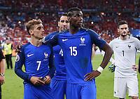 FUSSBALL EURO 2016 FINALE IN PARIS  Portugal - Frankreich     10.07.2016 Enttaeuschung Frankreich; Antoine Griezmann, Adil Rami, Paul Pogba und Torwart Hugo Lloris (v.li.)