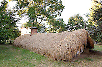 "Half buried subterranian house with thatched roof an soak walls and frame house Castranova, Dolj. At the entrance two special beams ""cosorbi"" with two extended outer ends in the form of horse heads were aimed at defending the house from evil spirits. The house design evolved to combat the harsh winds and big temperature difference between summer and winter. Built C19. Dimitrie Gusti National Village Museum (Muzeul Satului) in Bucharest, Romania"