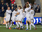 Dec 15, 2013; Notre Dame defender Andrew O'Malley celebrates with teammates after scoring against Maryland in the College Cup championship in Chester, Pa. Photo by Barbara Johnston/University of Notre Dame