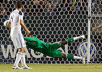 LA Galaxy goalkeeper Donovan Ricketts makes a diving save to his right. The LA Galaxy defeated DC United 2-1at Home Depot Center stadium in Carson, California on Saturday September 18, 2010.