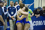 BIRMINGHAM, AL - MARCH 11: Mariah Constantakos (left) hugs teammate Monica Amaral of West Florida after she won the  Women's 3 meter Diving with a score of 505.20 during the Division II Men's and Women's Swimming & Diving Championship held at the Birmingham CrossPlex on March 11, 2017 in Birmingham, Alabama. (Photo by Matt Marriott/NCAA Photos via Getty Images)