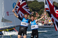 ENGLAND, Weymouth. 10th August 2012. Olympic Games. Men's 470 class. Medal Race. Luke Patience (GBR) Skipper (right) and Stuart Bithell (GBR) Crew, winners of the Silver Medal.