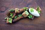 Carrots slow cooked in spices with crunchy malt, pine ice cream and pain d'épices