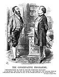 """The Conservative Programme. """"Deputation Below, Sir.- Want To Know The Conservative Programme."""" Rt. Hon. Ben. Diz. """"Eh?-Oh!-Ah!-Yes!-Quite So! Tell Them, My Good Abercorn, With My Compliments, That We Propose To Rely On The Sublime Instincts Of An Ancient People!!"""" [See Speech at Crystal Palace."""