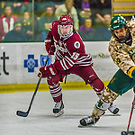 25 November 2014: University of Massachusetts Minutemen Forward Ray Pigozzi, a Sophomore from Evanston, IL, in action against the University of Vermont Catamounts at Gutterson Fieldhouse in Burlington, Vermont. The Cats defeated the Minutemen 3-1 to sweep the 2-game, home-and-away Hockey East Series. Mandatory Credit: Ed Wolfstein Photo *** RAW (NEF) Image File Available ***