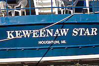 The Keweenaw Star tour boat docked on the Portage Canal in Houghton Michigan.