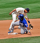 14 September 2008: Cleveland Indians' shortstop Jhonny Peralta makes a play at second against the Kansas City Royals at Progressive Field in Cleveland, Ohio. The Royal defeated the Indians 13-3 to take the 4-game series three games to one...Mandatory Photo Credit: Ed Wolfstein Photo