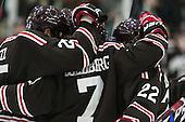 The Bears celebrate Jake Goldberg's (Brown - 7) goal. - The visiting Brown University Bears defeated the Harvard University Crimson 2-0 on Saturday, February 22, 2014 at the Bright-Landry Hockey Center in Cambridge, Massachusetts.