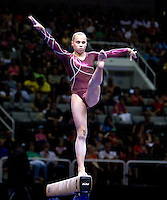 Rebecca Bross of Chow's competes on the beam during the 2012 US Olympic Trials competition at HP Pavilion in San Jose, California on June 29th, 2012.