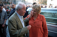 Roma Maggio 2003.Funerali in Piazza Farsene di Luigi Pintor fondatore del quotidiano Il Manifesto..Pietro Ingrao e Luciana Castellina..