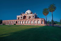 Humayun's tomb is the tomb of the Mughal Emperor Humayun. The tomb was commissioned by Humayun's wife Hamida Banu Begum in 1562 AD, and designed by Mirak Mirza Ghiyath, a Persian architect. It was the first garden-tomb on the Indian subcontinent, and is located in Nizamuddin East, Delhi, India, close to the Dina-panah citadel also known as Purana Qila, that Humayun founded in 1533. It was also the first structure to use red sandstone at such a scale. The tomb was declared a UNESCO World Heritage Site in 1993, and since then has undergone extensive restoration work, which is still underway.