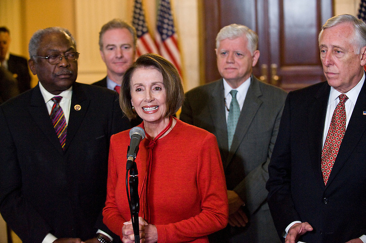 WASHINGTON, DC - Nov. 07: House Majority Whip James E. Clyburn, D-S.C., Assistant to the Speaker Chris Van Hollen, D-Md., House Speaker Nancy Pelosi, D-Calif., House Democratic Caucus Chairman John B. Larson, D-Conn., and House Majority Leader Steny Hoyer, D-Md., during a news conference after President Barack Obama spent a half-hour with House Democrats during a closed-door caucus meeting, providing the surest sign yet that the majority has lined up sufficient votes to pass a landmark health care overhaul measure. (Photo by Scott J. Ferrell/Congressional Quarterly)