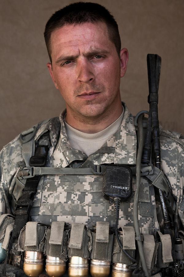 SGT Peden, Andrew 28 Fort Wayne, IN. Charlie Co. 1st Battalion 12th Infantry Regiment, 4th Infantry Division. Photographed at Combat Outpost JFM in Zhari District, Kandahar, Afghanistan.