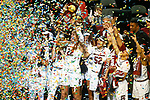 DALLAS, TX - APRIL 2: A'ja Wilson #22 of the South Carolina Gamecocks hoists the championship trophy during the 2017 Women's Final Four at American Airlines Center on April 2, 2017 in Dallas, Texas. (Photo by Timothy Nwachukwu/NCAA Photos via Getty Images)