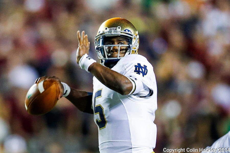 TALLAHASSEE, FLA. 10/18/14-FSU-ND101814CH-Notre Dame quarterback Everett Golson passes during second half action Saturday at Doak Campbell Stadium in Tallahassee. The Seminoles beat the Fighting Irish 31-27.<br /> COLIN HACKLEY PHOTO