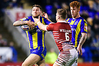 Picture by Alex Whitehead/SWpix.com - 09/03/2017 - Rugby League - Betfred Super League - Warrington Wolves v Wigan Warriors - Halliwell Jones Stadium, Warrington, England - Warrington's Daryl Clark is tackled by Wigan's George Williams.