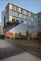 Office buildings along the Reichstagufer on the banks of the river Spree, with glass wall with articles of the German Constitution engraved on the panels, Berlin, Germany. Picture by Manuel Cohen