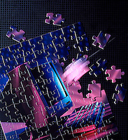computer computerized puzzle pieces  metaphor motion blur copy space