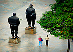 The Adam and Eve Sculptures in Plaza Botero are the work of Medellin's native son and Colombia's most famous artist, Fernando Botero.  Botero, known for his exagerated forms, donated 23 sculptures to sit in the plaza, turning the space into a must see destination for tourists and locals alike.