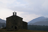 Small stone church along roadway of Route Napolean in Alpes Maritimes, France
